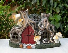 Miniature FAIRY GARDEN House ~ Hobbit Pixie Tree Stump House Cottage w LED Light