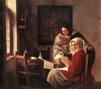 """Art Oil painting Johannes Vermeer - Girl Interrupted at Her Music on canvas 36"""""""
