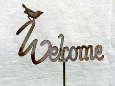 Iron Cut Metal Welcome Plant Stake Garden Landscape Yard Lawn Outdoor Home Decor
