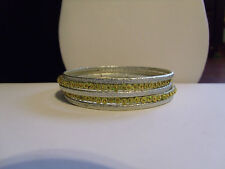 """Silver Beads Sequins 2 5/8"""" Diameter *H4* New Set Of 5 Bangle Bracelet Frosted"""