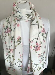 Ladies Scarf Shawl Wrap Ivory & Cherry Blossom Homemade in UK CHRISTMAS Gift