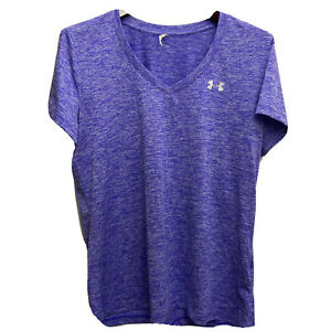 Under Armour Womens XL Heat Gear V Neck Shirt Loose Fit Short Sleeve Purple Top