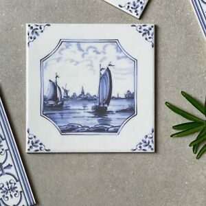 English delftware blue and white ships traditional delft tile 5223/3F