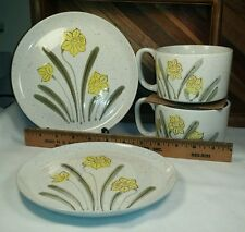 Hand-Painted Stonefleur Avant-Garde Collection Soup Mug & Salad Plate Lot 2 Sets