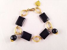LOVELY HANDMADE CHUNKY BRACELET BLACK ONYX GEMSTONES GOLD PLATED FINDINGS