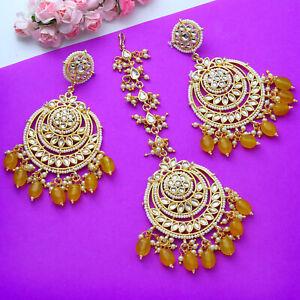 Indian Bollywood Kundan Earring Tikka Jewelry Christmas Gift Pearl Wedding Women