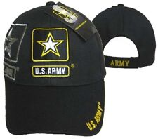 U.S. Army Star Shadow Black Embroidered Baseball Cap Hat 601S TOPW