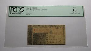 1758 Thirty Shillings New Jersey NJ Colonial Currency Bank Note Bill! 30s PCGS
