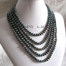 """100"""" 5-7mm Peacock Green Freshwater Pearl Necklace UE"""