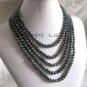 """100"""" 5-7mm Peacock Freshwater Pearl Necklace Strand Jewelry UE"""