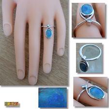 Opal Ring mit Diamant 585 Gold 14 Karat Weißgold Damenring