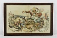 Antique 19th Century Puck Political Cartoon King Monopoly Dalrymple Lithograph