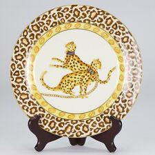 NEW antique style porcelain decorative plate vintage cat africa cheetah animal
