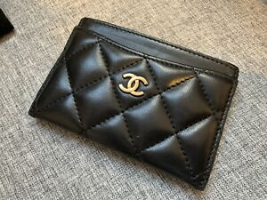 Chanel Lambskin Quilted Card Holder Black