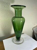 """Green To Clear & White Speckled Blown Glass Footed Vase  11 5/8"""" Tall  Elegant"""