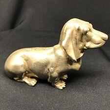 More details for vintage solid brass basset hound sculpture paperweight
