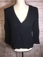 Zara Basic Black V Neck 3/4 Sleeve Shirt Size Medium