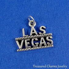 .925 Sterling Silver LAS VEGAS CHARM Casino Gambling Vegas Vacation PENDANT