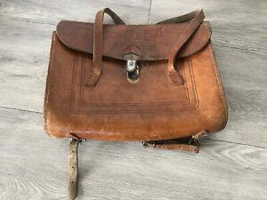 Schultasche Leder alt Vintage