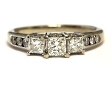 14k white gold .82ct VS G 3 stone princess diamond engagement ring band 3.4g