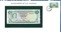 *Banknotes of All Nations Bahamas 1 dollar 1974 UNC P-35b Prefix P/1 Allen