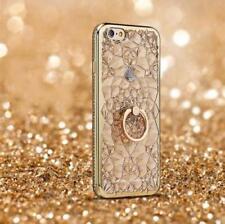 For iPhone X 8 7 6 Samsung Luxury Bling 3D Diamond Flower TPU Case Ring Holder
