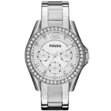 FOSSIL ES3202 RILEY UHR DAMENUHR EDELSTAHL 100M ANALOG DATUM ZIRKONIA WEIß