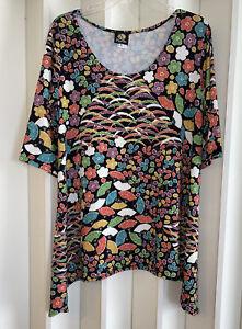 ANNE NAMBA Colorful Floral Fan Print Asian Art to Wear Slinky Blouse~XL NWOT