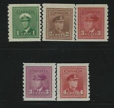 CANADA - #263-#267 - KING GEORGE VI WAR ISSUE COIL MINT SET MNH