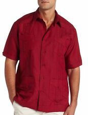 Cubavera Embroidered Lounge Guayabera Casual Shirt Men's M Red D34