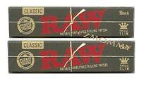 2 x Raw Black Hemp King Size Slim Rolling Papers Natural Unrefined Organic 110mm