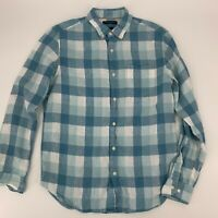 Banana Republic Mens Shirt Camden Fit Size Medium M Blue Plaid Linen Long Sleeve