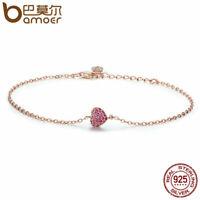 BAMOER Real S925 Sterling silver Women Rose Bracelet Elegant heart & CZ Jewelry