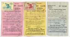 3 Vintage New Jersey Stamped Trout Fishing Licenses Permits 1975-1976-1979