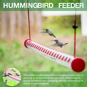 US Best Hummingbird Feeder with Hole Birds Feeding Transparent Pipe Outdoor 40cm
