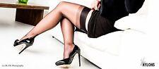 garter Nylons Stockings Fully Fashioned Black Cuban Heel Seam, Size 9