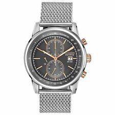 Citizen Eco-Drive Men's CA0336-52H Chronograph Grey Dial Mesh Band 42mm Watch