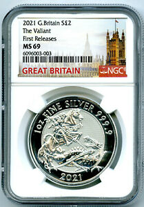2021 GREAT BRITAIN 1OZ .9999 SILVER VALIANT DRAGON NGC MS69 FIRST RELEASES