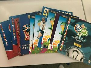 Job lot Panini Sticker albums x11 World Cup/Euros -completeness/condition varies