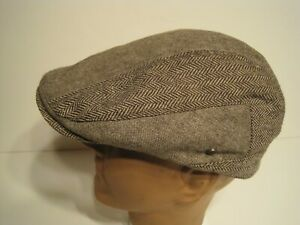 STETSON brown herringbone twoTone Ivy Cabbie DRIVING Cap Hat large