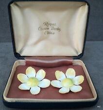 Vintage Royal Crown Derby Handpainted China Flower Earrings Delicate - Estate