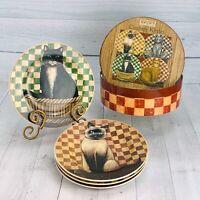 Sakura David Brown COUNTRY KITTIES Checked Stoneware Salad Dessert Plates Set 4