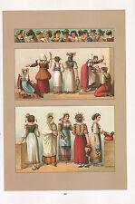 Moda Vintage Costume impresión ~ Italia 1880 Tocados Novias Mujer Trabajadora