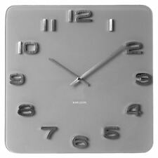 Karlsson Wall Clock Vintage Grey Glass 35x35cm Silver Numbers