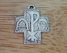 Pewter 20x16mm Chi Rho Alpha Omega Religious Symbol Cross Charm