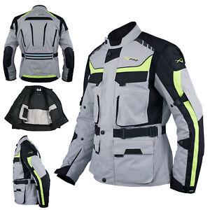Motorcycle Textile Jacket Motorbike Armor CE Touring Waterproof Grey