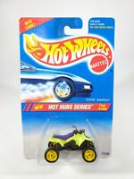Hot Wheels Hot Hubs Suzuki Quadracer Green w/ Yellow 3 Directional Wheels NEW
