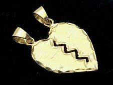New Solid 14K Yellow Gold Broken Heart Charm Pendant 3.5 grams