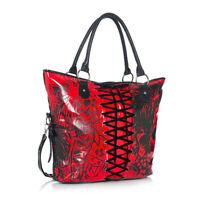 Iron Fist Large Red American Nightmare Tote Handbag (Goth,Skull)