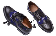 Ghillie Brogues Scottish Kilt Shoes/Black Ghillie Shoes with Blue Tartan Size-10